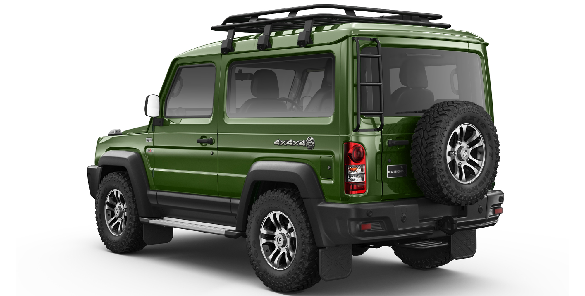 Green Colour Gurkha 4x4x4 car with Rear Ladder