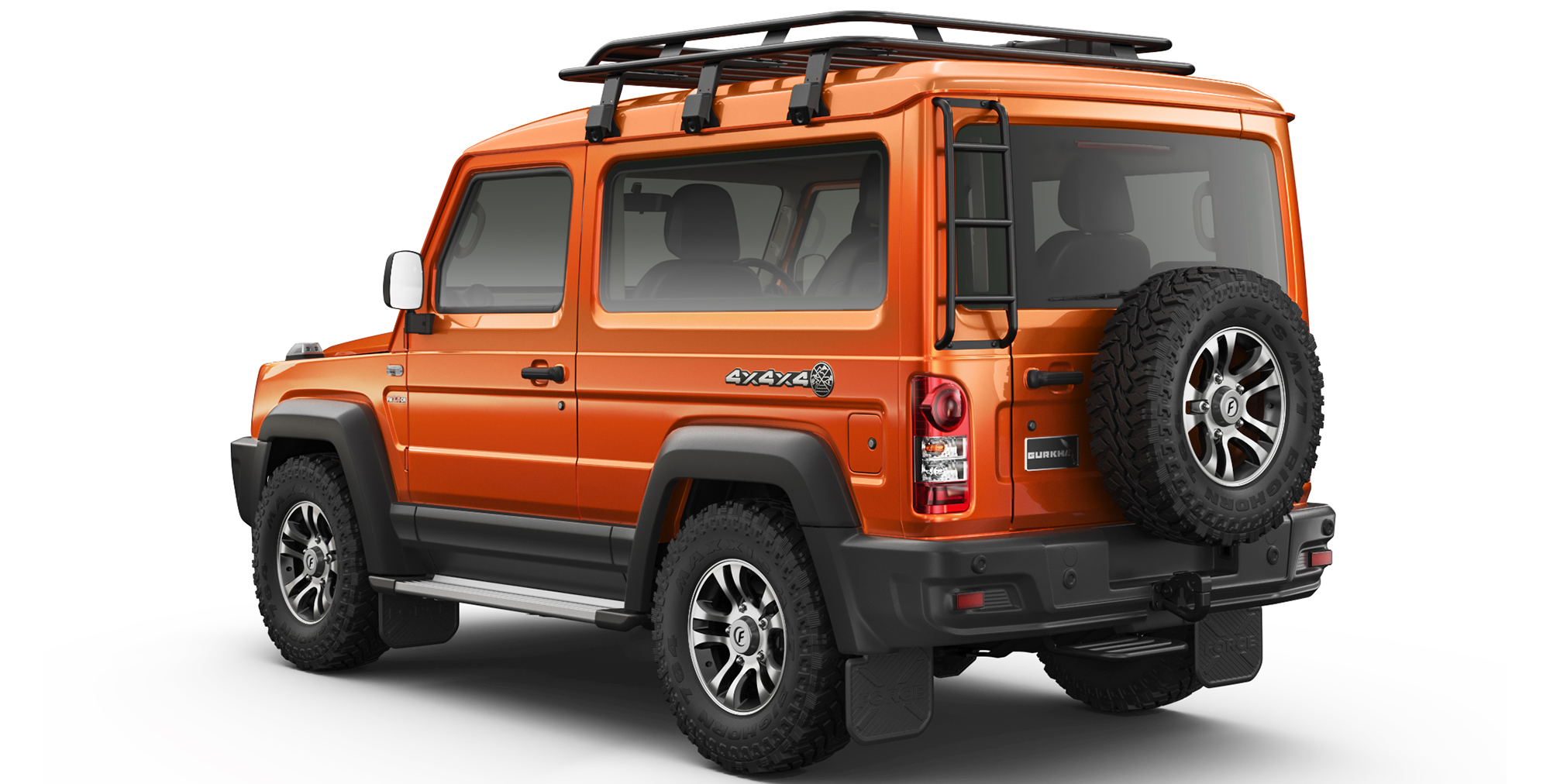 Orange Colour Gurkha 4x4x4 car in india with Rear Ladder