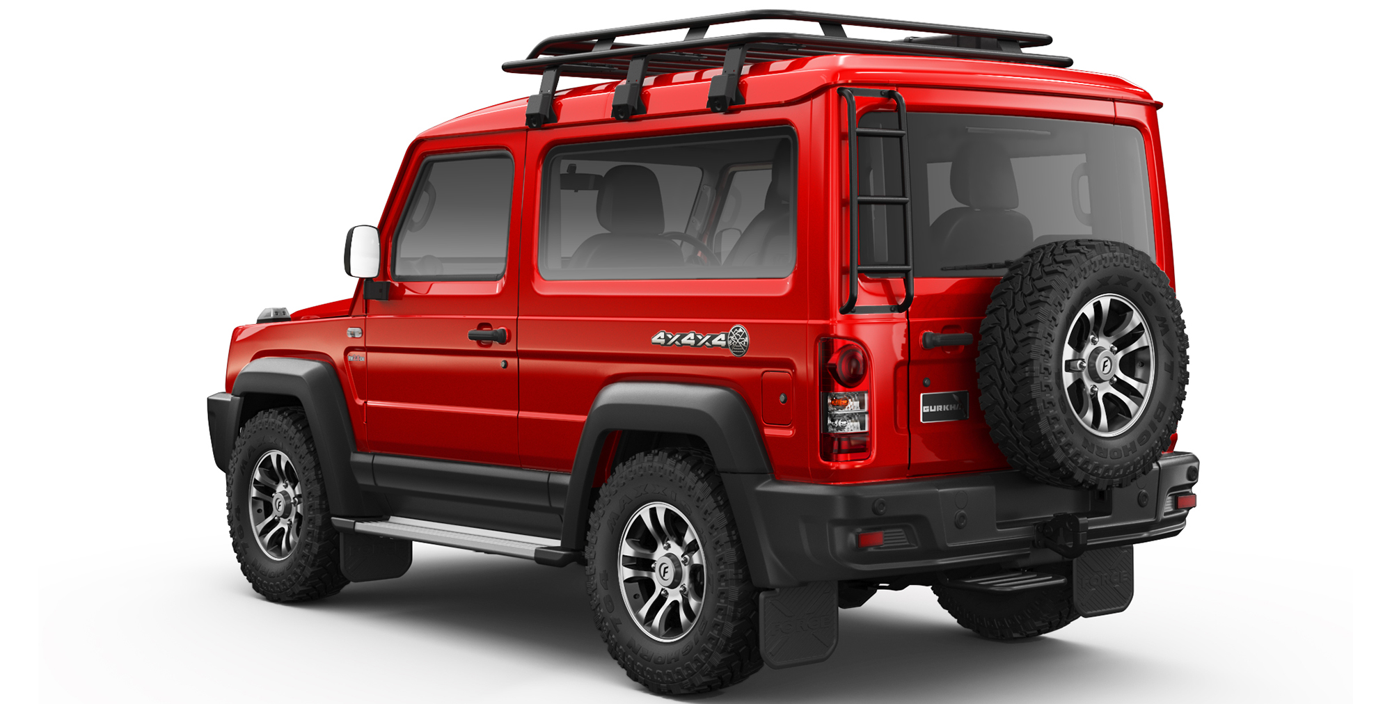 Red Colour Gurkha 4x4x4 car in india with Rear Ladder