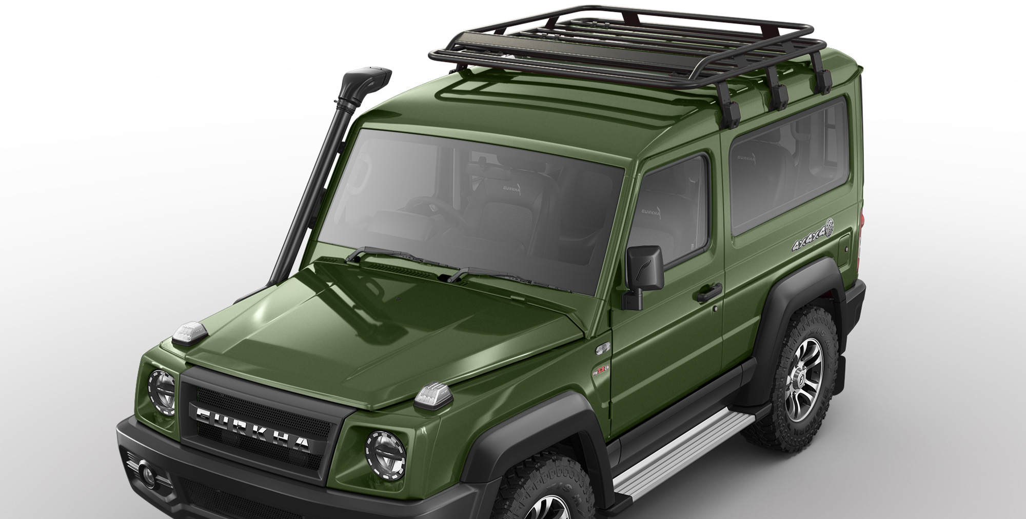 Green Colour Gurkha 4x4x4 off road car with Roof Carrier