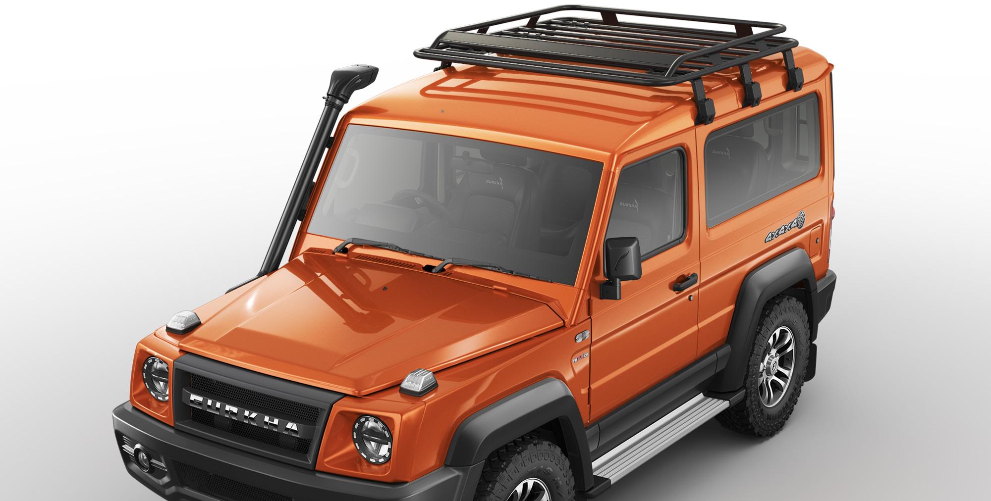 Orange Colour Gurkha 4x4x4 off road car with Roof Carrier