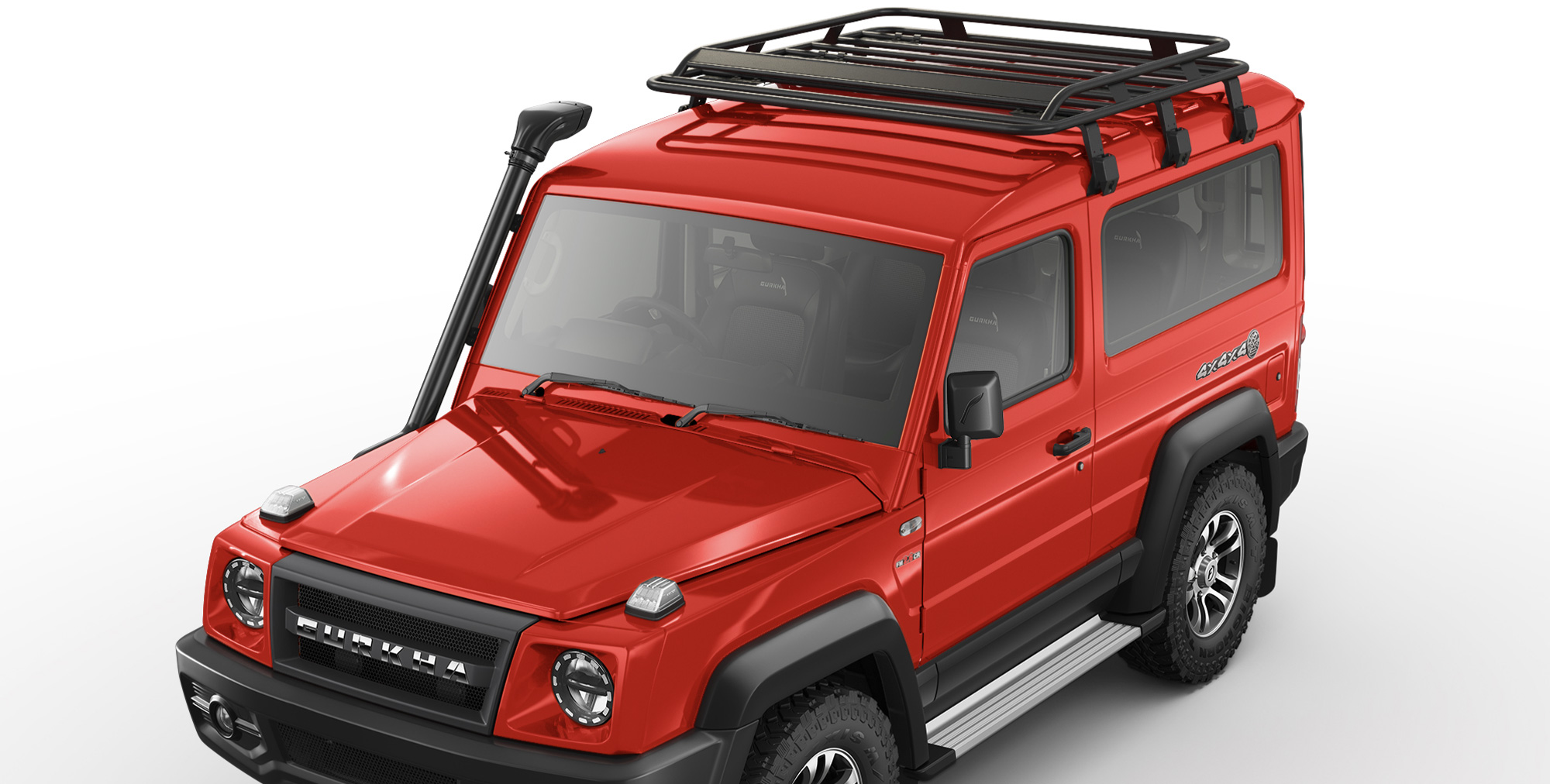 Red Colour Gurkha 4x4x4 off road car with Roof Carrier