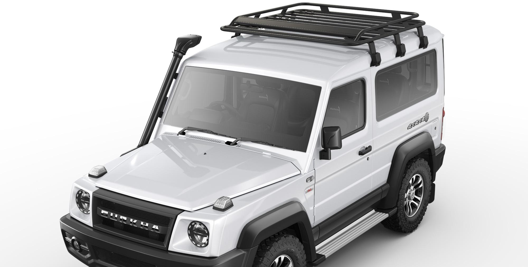 White Colour Gurkha 4x4x4 car with Roof Carrier