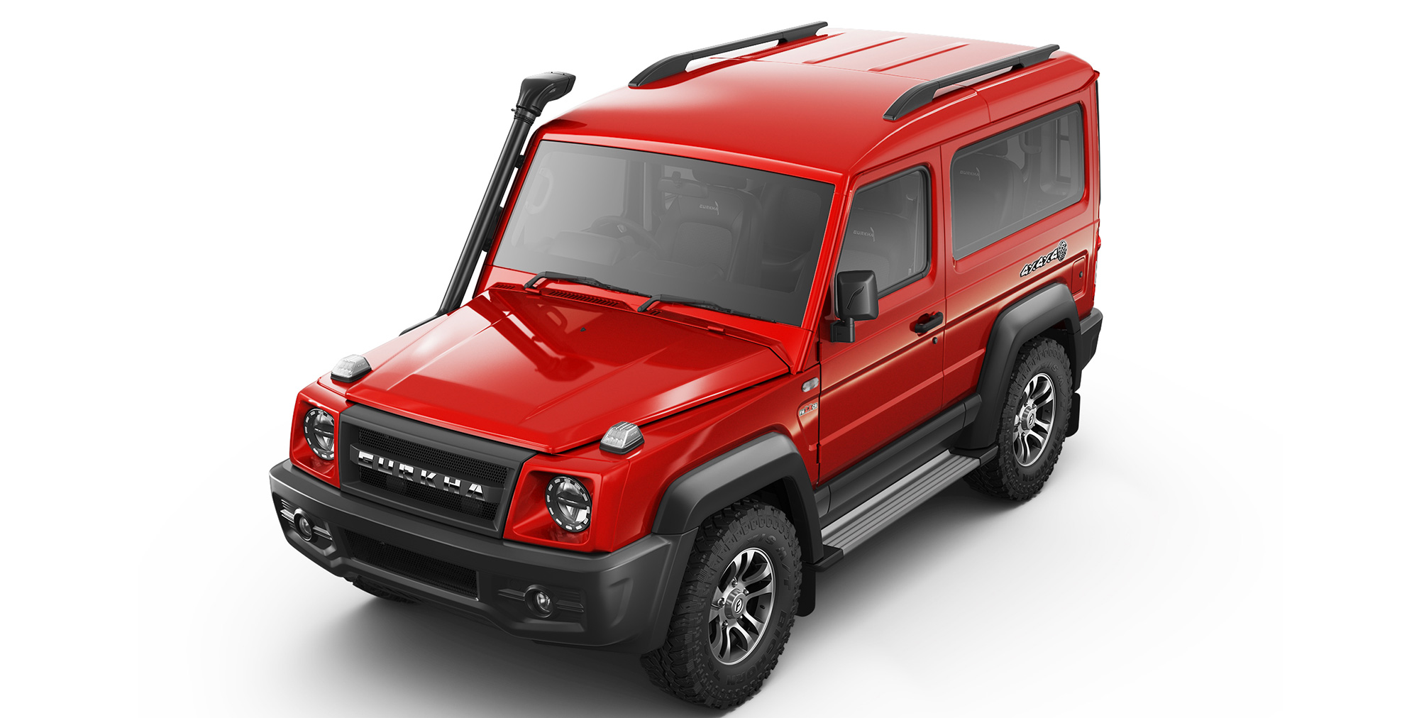 Red Colour Force Gurkha 4x4x4 with Roof Rail