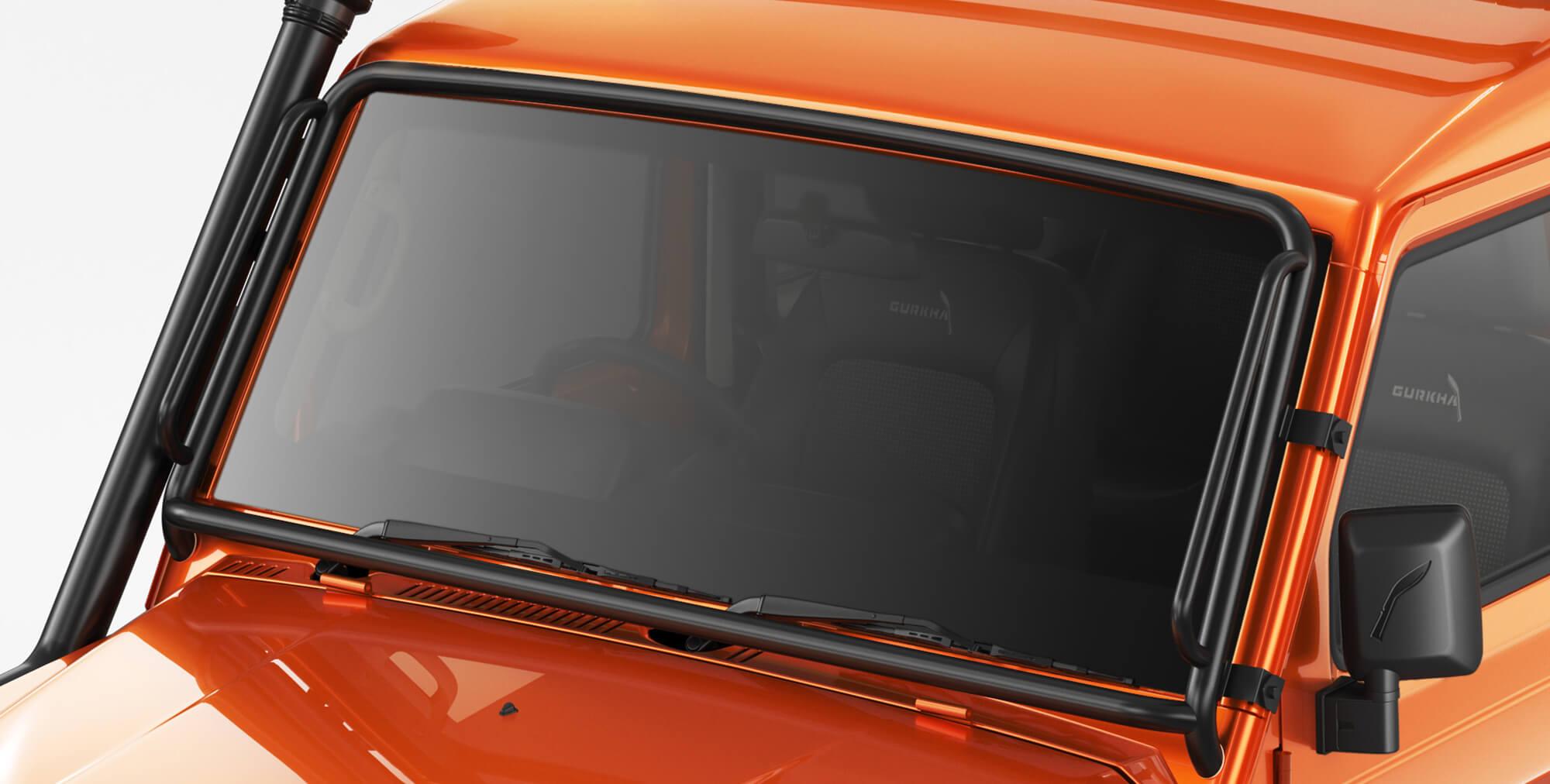 Orange Colour Gurkha with Windscreen Bar for off-roading adventure